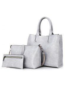 حقيبة جلد صناعي 3 قطع - رمادي فاتح
