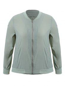 Zippered Floral Embroidered Plus Size Jacket - Light Grey 3xl
