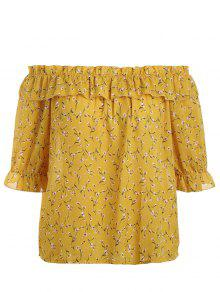 Plus Size Tiny Floral Off Shoulder Blouse - Yellow Xl