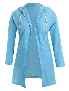 Plus Size Hooded Drawstring Longline Coat - Windsor Blue 3xl
