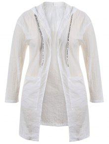 Plus Size Hooded Drawstring Longline Coat - White 3xl