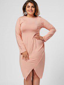 Plus Size Asymmetrical Bodycon Dress - Pink 3xl