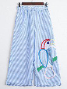 Corte Los Pantalones Anchos De La Pierna De Las Rayas Bordadas - Raya