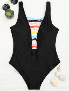 Shaping Strappy Front Plunge One Piece Swimsuit - Black L