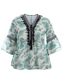 Plus Size Tassel Printed Smock Blouse - Green 4xl