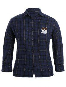 Checked Doggy Patched Plus Size Shirt - Blue 3xl