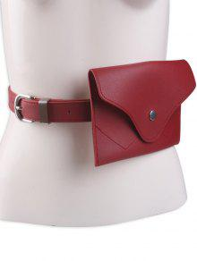 Pin Buckle Faux Leather Waist Belt Bag - Red