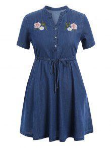 Cordón Bordado Más Vestido De Dril De Algodón De Talla - Denim Blue 3xl