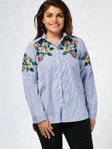 Stripes Floral Embroidered Plus Size Shirt - Stripe 2xl