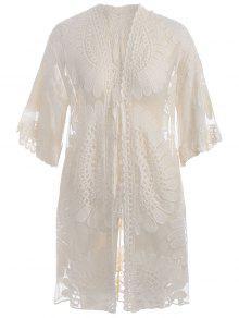 Plus Size Kimono Self Tie Cover Up Dress - Off-white 2xl