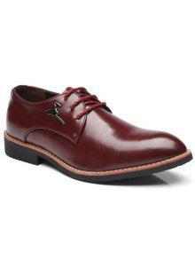 أحذية رسمية بجلد اصطناعي مطرز معدني - نبيذ أحمر 44