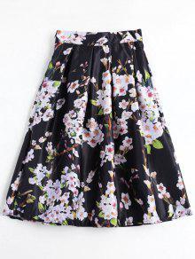 Floral Printed A Line Skirt - Black