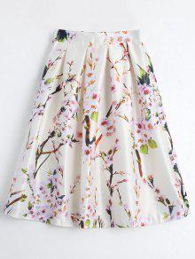 Floral Printed A Line Skirt - Beige