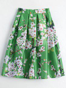 Floral Printed A Line Skirt - Green