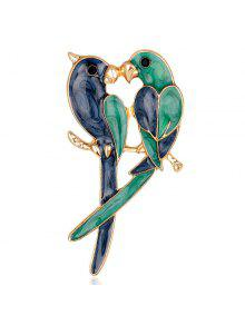 عشاق الببغاوات تصميم مطلي بروش - أخضر