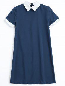 Back Zipper Two Tone Mini Dress - Purplish Blue M