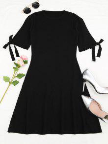 Knitting Split Sleeve Bowknot Mini Dress - Black