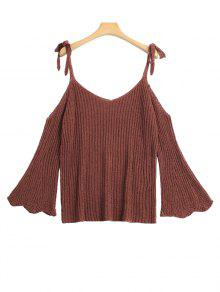 Knitting Cold Shoulder Top - Coffee
