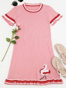 Knitted Ruffles Embroidered Mini Dress - Pink