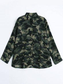 Loose Cozy Camouflage Shirt - Acu Camouflage L