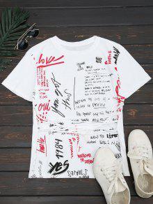 Letter Cotton Lace Up T-Shirt - White