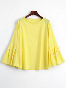 Pleated Bell Sleeve Plain Blouse - Yellow S
