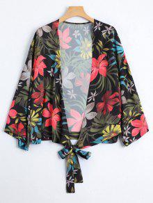 كيمونو ربطة ذاتية طباعة الأزهار - الأزهار L
