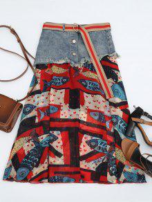Fish Print Belted Denim Panel Skirt - Multi M