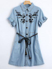 Floral Patched Ruffled Belted Denim Dress - Light Blue M