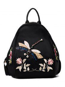 Zaful Dragonfly And Flower Patches Backapck - Black