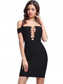 Criss Cross Bodycon Bandage Dress - Black L