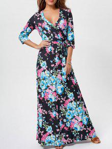فستان طباعة الأزهار مع حزام طابق الطول - أسود L