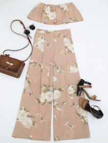 Smocked Tube Top Y Slit Pantalones Florales Anchas - Floral S
