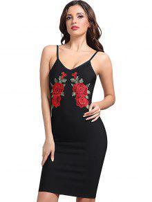 فستان ملائم كامي مرقع بالأزهار - أسود S