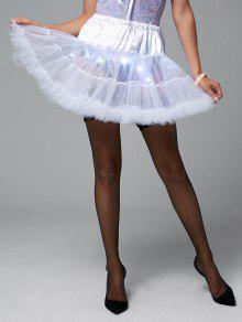 Ruffles Light Up Tutu Voile Cosplay Skirt - White