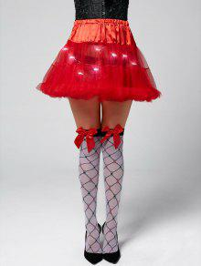 Ruffles Light Up Tutu Voile Cosplay Skirt - Red