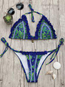 Conjunto De Bikini Con Volantes De Estampado De Paisley - Azul M