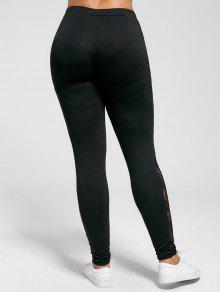 fc163fc2ed24d 23% OFF] 2019 Plus Size Lace Insert Sheer Leggings In BLACK | ZAFUL