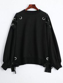 Pullover Lace Up Loose Sweatshirt - Black M