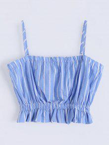 Cami Ruffles Cropped Tank Top - Light Blue S