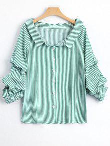 Puff Manga única Camisa De Rayas Breasted - Raya L