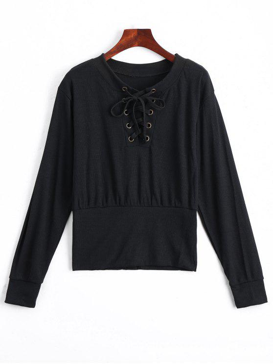new Lace Up Long Sleeve Knitted Tee - BLACK S