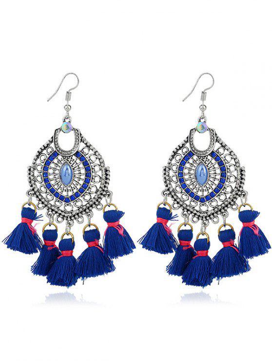 Tassels Pendant Dreamcatcher Shape Hook Earrings - Azul