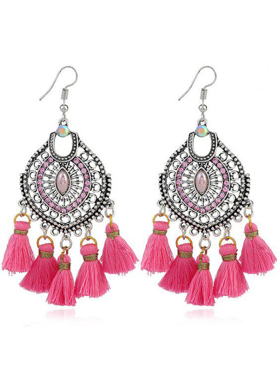 Tassels Pendant Dreamcatcher Shape Hook Earrings - Rosa