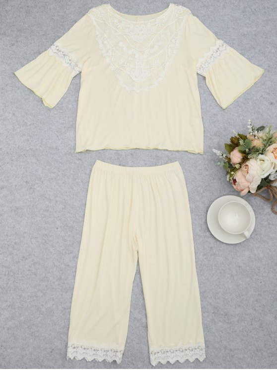 trendy Loungewear Lace Crochet Panel Top with Capri Pants - PALOMINO XL