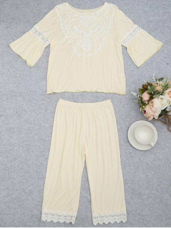 Loungewear Lace Crochet Panel Top com Capri Pants - Palomino M
