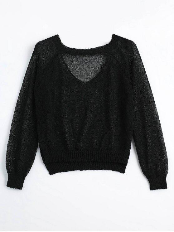 fancy Sheer Choker Knitwear - BLACK ONE SIZE