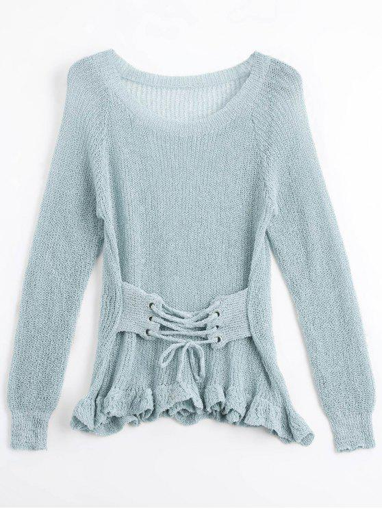 affordable Sheer Ruffles Lace Up Knitwear - GRAY ONE SIZE
