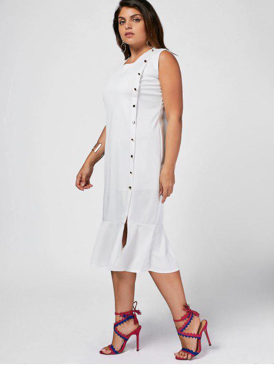 Slit Button Up Mermaid Plus Size Dress - Blanc 4XL