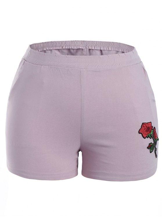Pantalones cortos bordados florales de tamaño más informal - Morado Claro 3XL